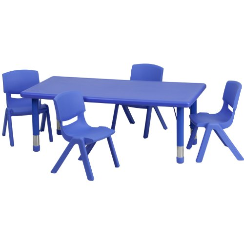 Rect Office Table - Flash Furniture 24''W x 48''L Rectangular Blue Plastic Height Adjustable Activity Table Set with 4 Chairs