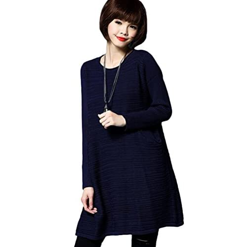 05d2c3de50 70%OFF Minibee Women's Round Neck Knitted Dress Sweater with Pockets ...
