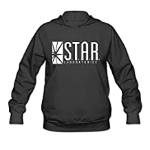 QUFGH Women's Star Labs - The Flash Captain TV Laboratories S.T.A.R. Logo Comics DT Hooded Sweatshirt Black