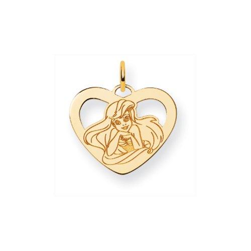 (Disney's 14k Yellow Gold Ariel Heart Charm)