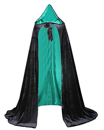 LuckyMjmy Velvet Renaissance Medieval Cloak Cape lined with Satin (Medium, Black-Green)]()