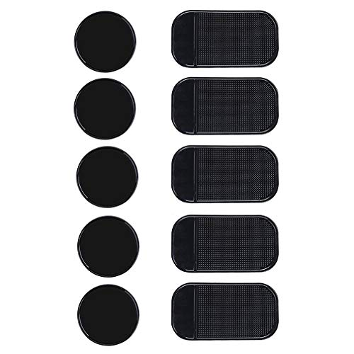 10 Packs Anti-slip Gel Pads Viaky Fixate Sticky Cell Pads Non-slip Gel Mat Sticky Auto Gel Holder,Can Stick to Cellphone, Pad, Keys ,Glass, Mirrors, Whiteboards, Metal (Black)
