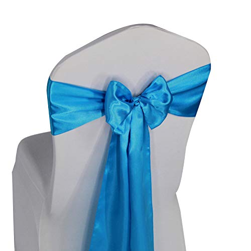(Turquoise Satin Chair Sashes Ties - 50 pcs Wedding Banquet Party Event Decoration Chair Bows (Turquoise, 50))