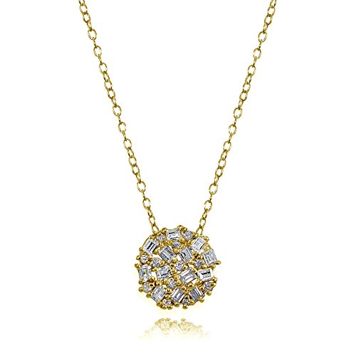 Baguette Round Necklace (Yellow Gold Flashed Sterling Silver Baguette and Round-Cut Cubic Zirconia Cluster Round Circle Necklace)