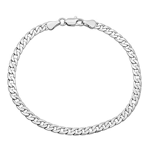 - Pori Jewelers 10K Gold 5MM Hollow Curb/Cuban Chain Bracelet/Necklace-Made in Italy (White, 8)