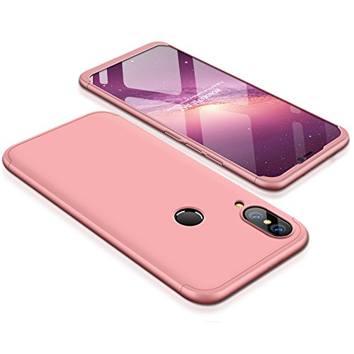 Huawei P20 Lite Case Slim 3 in 1 Hard PC Matte Surface Non Slip Shockproof Anti-Scratches Full Body Protective Cover for P20 Lite (2018) (Rose Gold, Huawei P20 Lite)