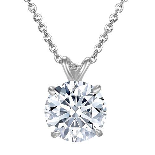 NaNa Chic Jewelry Women Swarovski Elements Round April Birthstone Cubic Zircon White Gold Plated Necklace 18