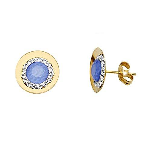 Boucled'oreille 18k or améthyste ronde centre zircone cubique [AA5636]