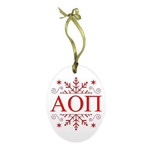 Express Design Group Alpha Omicron Pi AOII Holiday Color Snowflake Glass Christmas Ornament