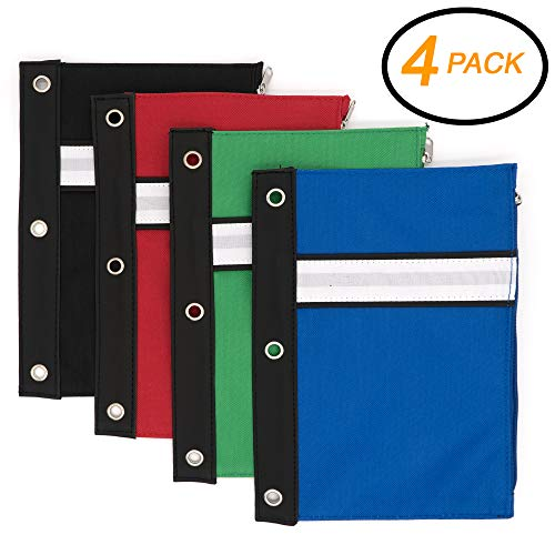 Emraw 3-Ring Pencil Pouches - Assorted Color Pencil Pouch wi