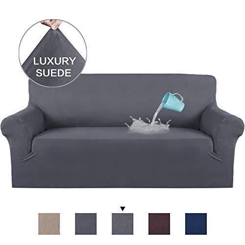 H.VERSAILTEX Water Repellent Velvet Plush Sofa Cover Furniture Protector Suede Couch Covers, Fitted Sofa Protector High Stretch Plush Sofa Slipcovers-Charcoal Gray, 3 - Furniture Suede Protector