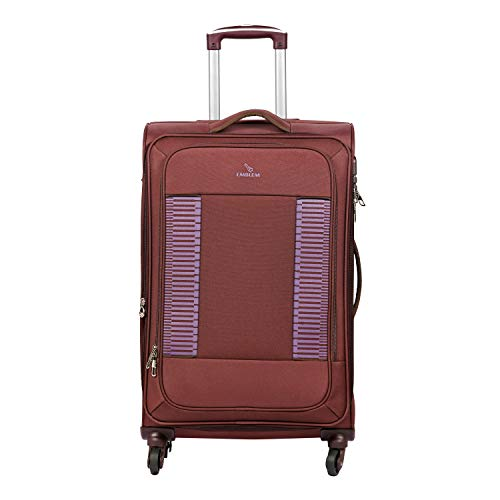 EMBLEM Supreme 20 Inch/50 cm Polyester 4 Wheel Spinner, Cabin Luggage Trolley Bag with Expandable  Wine