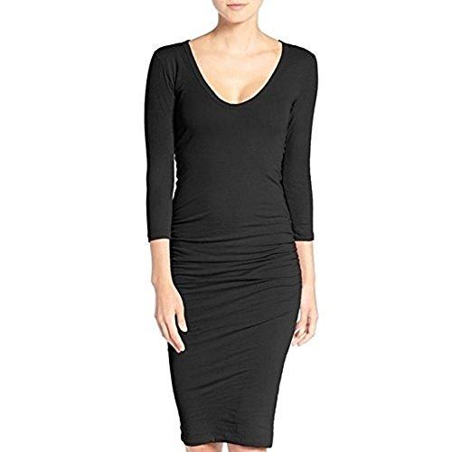 James Perse Ruched V Neck Dress-Size 4 Black