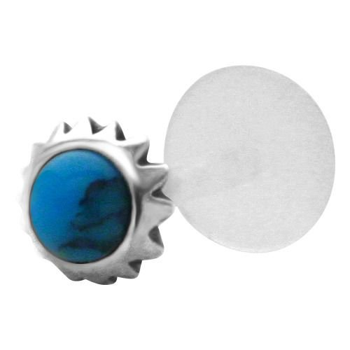 Tribal Sun Sterling Silver Ring (Blue Mayan Tribal Sun 925 Sterling Silver Bioplastic Tragus Earring or Labret Lip Stud)