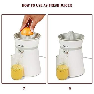 iBELL JU400SG Electric Citrus Fruit Juicer, 20 Watt Juice Maker, Orange Juicer with High Grade Copper Motor, 2 Small Type Squeezers (White) 14