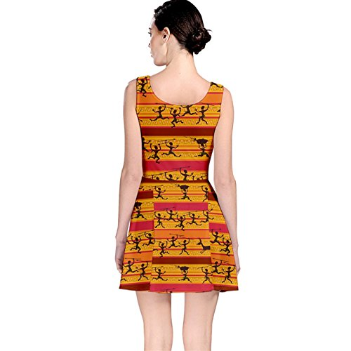 CowCow African Orange Womens Pattern Aborigines of Dress Skater Comic Hunting YrYZ5xq