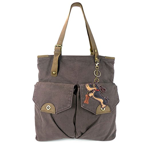 Chala Women's X-Large Canvas Double Pocket Tote with Gain Leather Strap and Bonus Metal Purse Charm (Dark Brown - Strap Double Tote Large