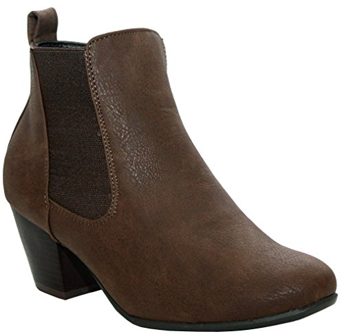 New Ladies Womens PU Suede Fashion Chelsea Zip up Formal Office Work Ankle Boots Shoes UK Sizes 3-8 Brown ULr7PabYi