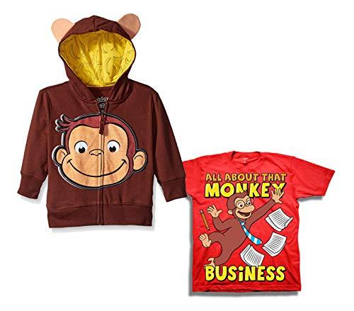 Curious George Hoodie Shirt Set - 2 Pack of Curious George Hoodie and Tee (Brown/Red, -