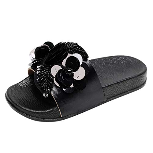 ns Flat Slides Sandals Diamante Sparkly Sliders Flower Sequin Decoration Slippers Shoes ()