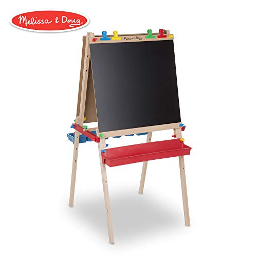 Melissa & Doug Deluxe Wooden Standing Art Easel, Arts & Crafts, Multiple-Use Easel, Chalkboard, Dry-Erase Board, Paper-Roll Holder, 47″ H × 27″ W × 26″ L Assembled]()