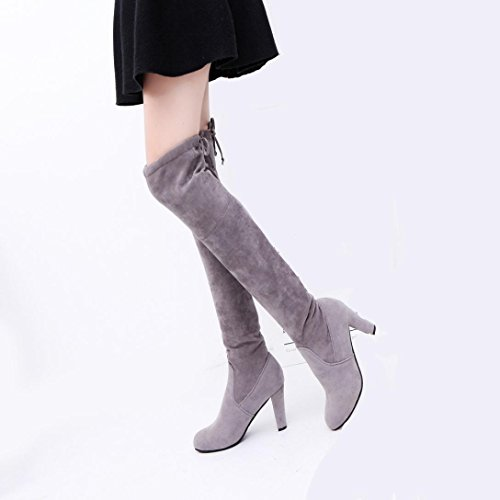Tenworld Women High Heels Shoes Faux Slim Over The Knee High Boots (7, Gray)