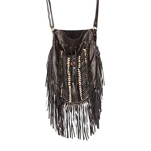 Black Boho Bag | Real Leather | Fringe Purse | Bohemian Bags | Hobo Tote ()