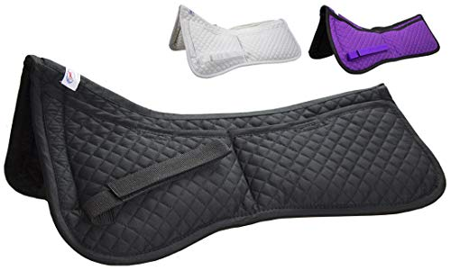 (Derby Originals Contoured Correction All Purpose Quilted English Half Saddle Pad with Therapeutic Removable Support Memory Foam Pockets for All Disciplines)