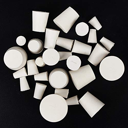 29 Pack (10 Assorted Sizes) 000#-7# Solid Rubber Stoppers