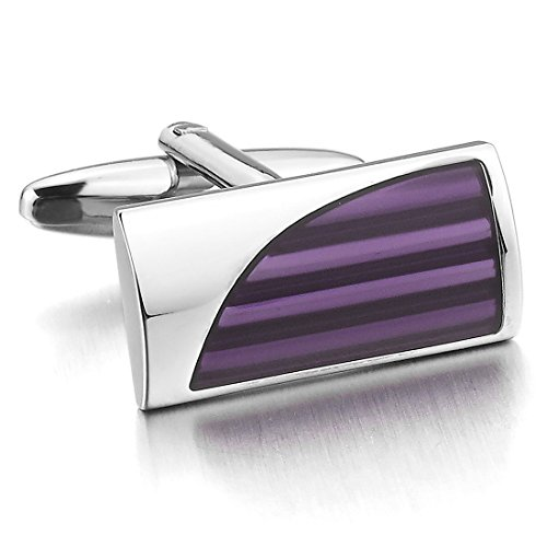 INBLUE Rhodium Cufflinks Striped Business