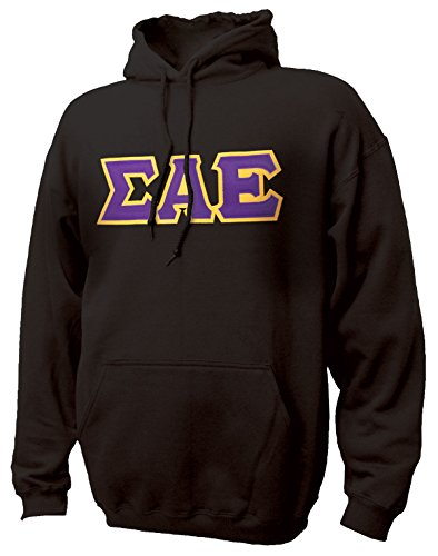 (Sigma Alpha Epsilon Black Hoodie with Purple Sewn On Letters)