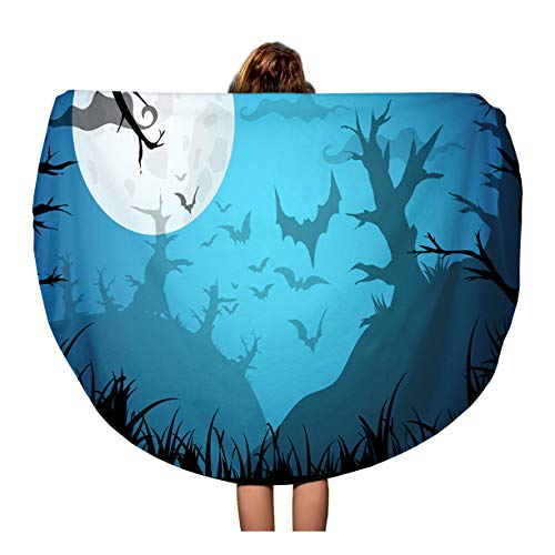Semtomn 60 Inches Round Beach Towel Blanket Halloween Blue Spooky A4 Border Moon Death Trees Travel Circle Circular Towels Mat Tapestry Beach Throw