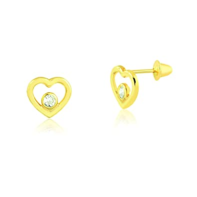 Jewel Tie Solid 14K Yellow Gold Cubic Zirconia CZ Cat Stud Earrings With Screw Back