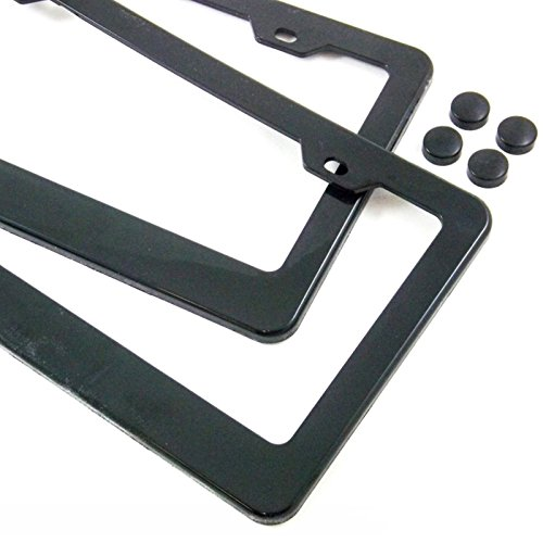 Black Plastic License Plate Frame - 2 License Plate Frame Pair Black Plain Blank ABS Tag Holder with Matching Caps Car Truck Auto Covers