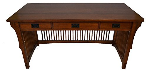 (Crafters and Weavers Mission Solid Oak Library Table with 3)