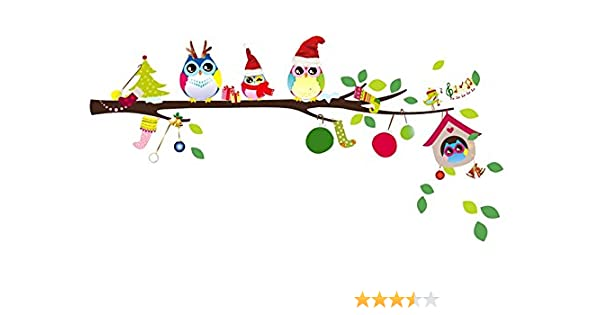 Christmas Owl.Christmas Monkey And Owl Christmas Owl On Branches Owl Wall Decal Nursery Wall Decal