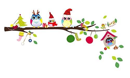 amazoncom christmas monkey and owl christmas owl on branches owl wall decal nursery wall decal baby - Owl Christmas