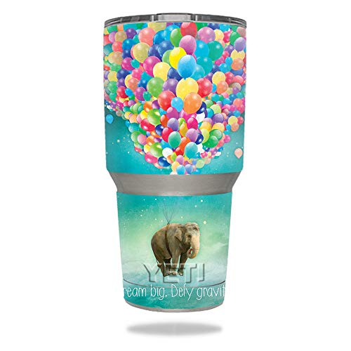 MightySkins Skin Compatible with YETI 30 oz Tumbler - Elephant Balloons | Protective, Durable, and Unique Vinyl Decal wrap Cover | Easy to Apply, Remove, and Change Styles | Made in The USA