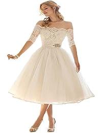Hot Dresses Half Sleeve Short Tea Length Wedding Dress off Shoulder Bridal Gowns