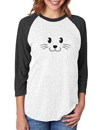 Teenage Animal Costumes - Cute Face Halloween Easy Costume 3/4 Women Sleeve Baseball Jersey Shirt Small black/white