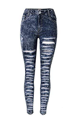 Skinny 20 Strappati Boyfriend Jeans Da Style Taglia 34 Con Stretch Scuro Chern Alta Anni Fori Dunkelblau A Donna Vita Blu 44 dPAwxPqg