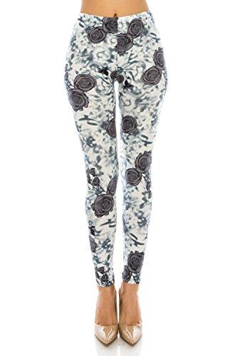 The Leggings Gallery Women's Leggings High-Waist Ultra Soft Solid & Patterned - Regular/Plus Size (Shibori Rose, Regular) -