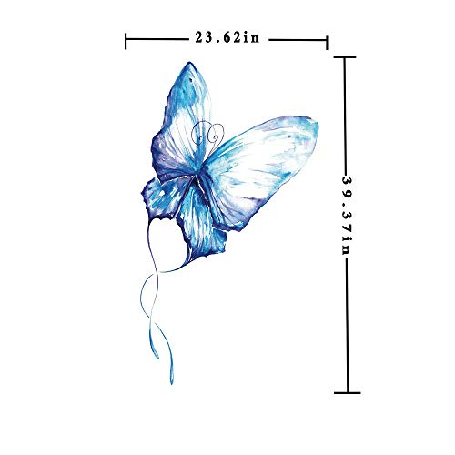 Window Film decorate Glass Film 3D printed,Hand Drawn Style Blue Butterfly Nature Inspired Art Brush Strokes in Soft Colors Decorative,W15.7xL63in,No Glue Static Cling Glass Sticker with Blue White (3d Printed Glasses)