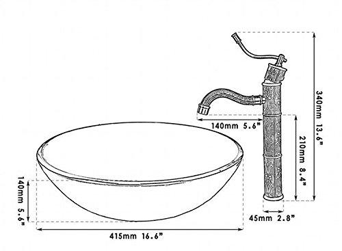 GOWE Retro Anitique Brass Tap+Hand-Paint Round Washbasin Lavatory Glass Wash Basin Sink Combine Vessel Tap Mixer Faucet 2
