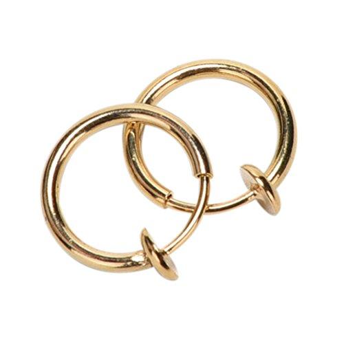 (CosCosX 2 Pcs Non-Piercing Fake Stud Earrings Punk Clip On Piercing Body Nose Lip Rings Hoop Earrings)