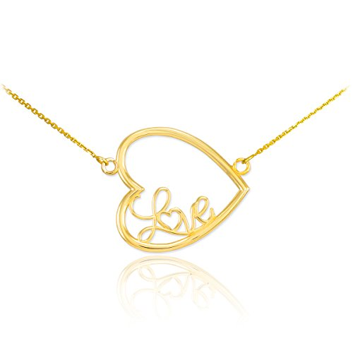 """14 ct 585/1000 Or Lateralement Coeur """"Love"""" Script Collier"""