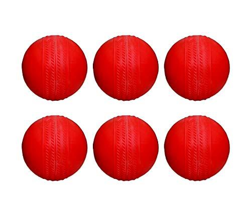 Ceela Sports Rubber Cricket Ball  Red, Standard    Pack of 6