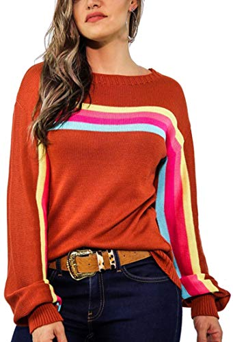 Angashion Women's Casual Long Sleeve Crewneck Multi Color Striped Knitted Pullover Sweater Tops Rust Red M