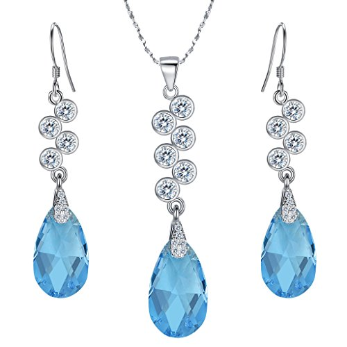 EleQueen 925 Sterling Silver CZ Teardrop Pendant Necklace Hook Dangle Earrings Set Made with Swarovski Crystals