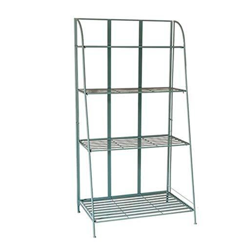 Jcnfa-Shelves Vintage Blue 4-Layer Folding Frame, Metal Wrought Iron Storage Rack, Book Display Rack, Garden Rack (Color : Vintage Blue, Size : 31.4920.8660.23in) from Jcnfa-Shelves